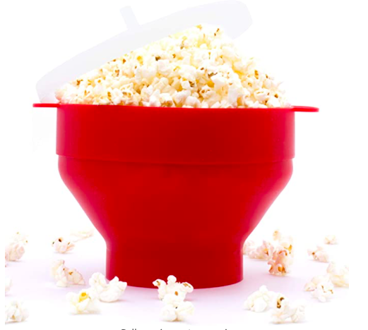 The PopMaize Popcorn Bowl that makes delicious popped corn - in red.