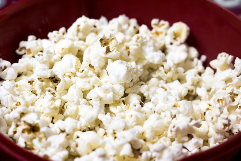 A bowl of white plain popcorn